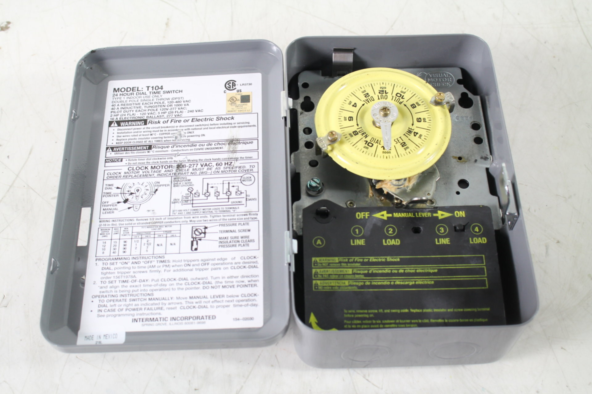Intermatic T104 208 277 Volt Dpst 24 Hour Mechanical Time Switch Wiring Diagram