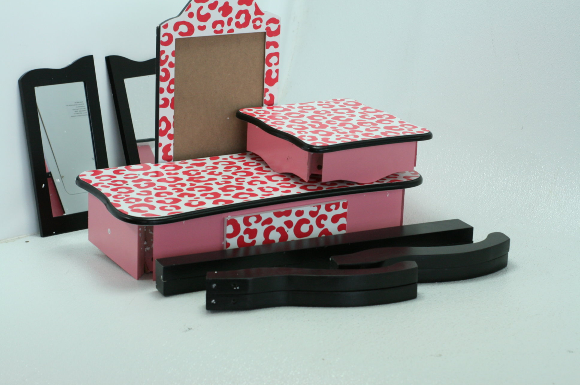 53a60ae687e Teamson kids fashion prints girls vanity table and stool set with mirror  leopard pink jpg 1936x1288