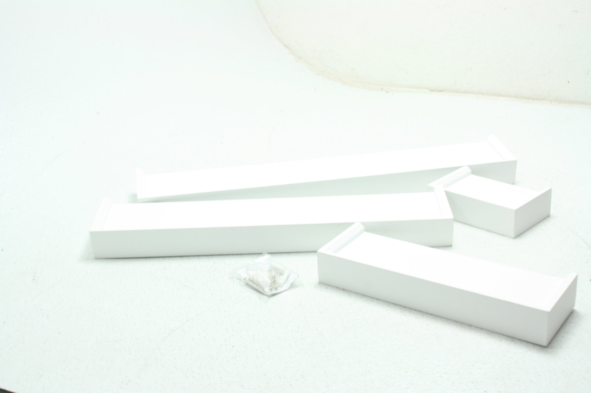 2541ab0506 Details about Ballucci Modern Ledge Wall Shelves Set Of 4 Easy To Hang  Durable MDF White