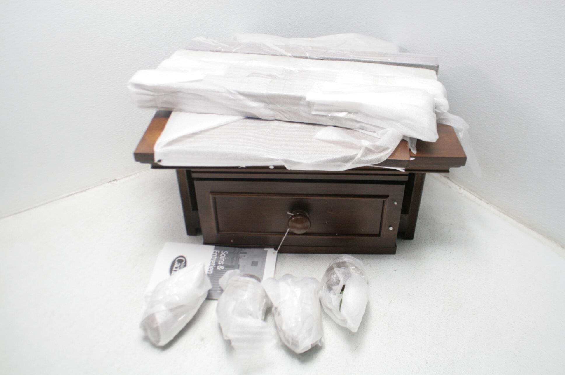 montana collection natural hardwood nightstand end table combo brown sugar